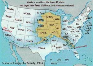 L'estensione dell'Alaska paragonato al territorio degli USA